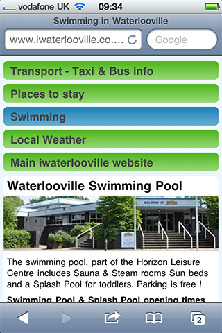 Swimming in Waterlooville mobile site screenshot from an iPhone 4